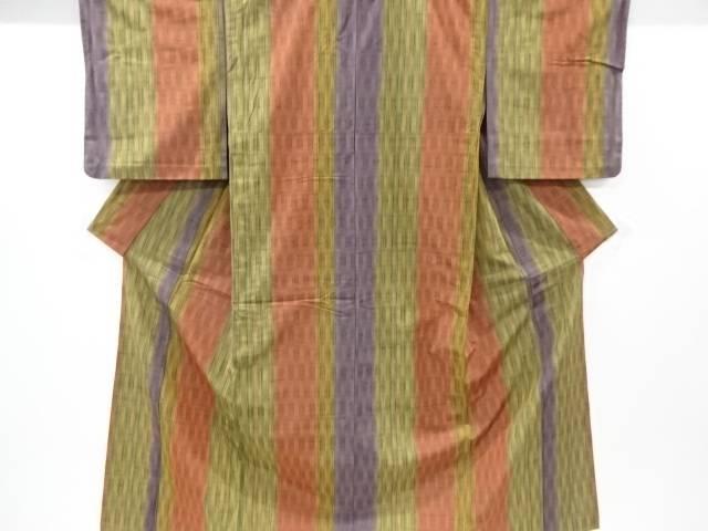 【IDnet】 草木染立涌模様織り出し手織り節紬単衣着物【リサイクル】【中古】【着】