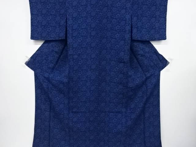 【IDnet】 縮緬地本藍型染唐花模様単衣小紋着物【リサイクル】【中古】【着】