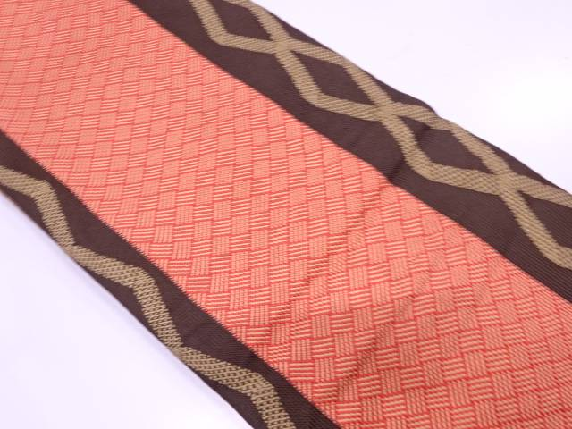 【IDnet】 リボン織縞に抽象模様全通袋帯【リサイクル】【中古】【着】