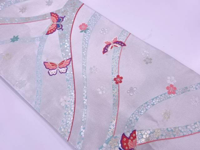 【IDnet】 花に蝶模様織出し袋帯【リサイクル】【中古】【着】