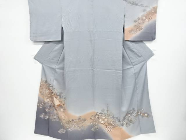 【IDnet】 呉県刺繍 扇面に山車・花模様一つ紋訪問着【リサイクル】【中古】【着】