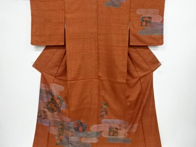 【IDnet】 観世水に八重梅・牡丹模様手織り真綿紬訪問着【リサイクル】【中古】【着】