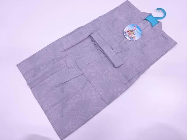 【アイディーネットのリサイクル・アンティーク着物 茶道具】 【IDnet】 独楽繋ぎ模様男児浴衣(120センチ)(グレー)【新品】【着】