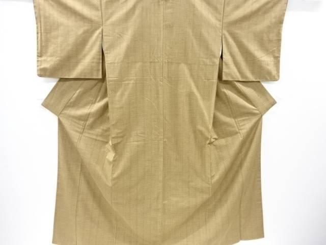 【IDnet】 小格子織り出し手織り真綿紬着物【リサイクル】【中古】【着】