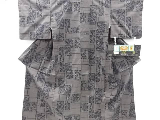 【IDnet】 重ね色紙に竹笹模様織り出し本場泥大島紬着物(5マルキ)【リサイクル】【中古】【着】