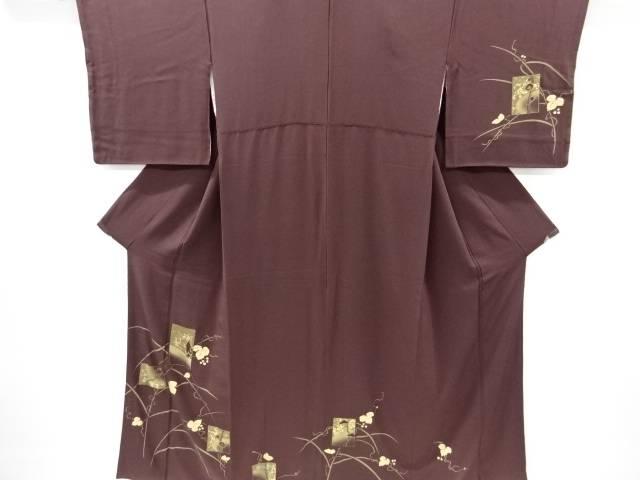 【IDnet】 金彩蔦の葉に松竹梅・鶴模様刺繍訪問着【リサイクル】【中古】【着】