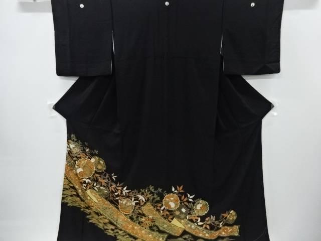【IDnet】 金彩雪輪に笠松・桐・牡丹模様刺繍留袖(比翼付き)【リサイクル】【中古】【着】