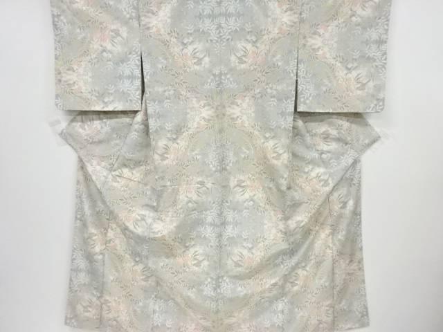 【IDnet】 未使用品 花鳥模様織り出し十日町紬着物【リサイクル】【着】