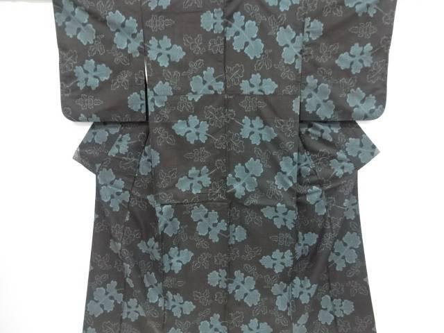 【IDnet】 菊の葉模様織り出し本場泥大島紬着物アンサンブル(5マルキ)【リサイクル】【中古】【着】