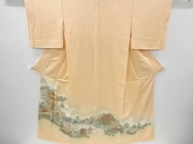 【IDnet】 未使用品 仕立て上がり 寿光織時代人物に寺院風景模様織り出し一つ紋色留袖【着】
