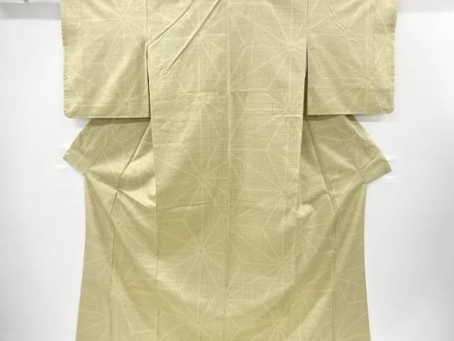 【IDnet】 麻の葉模様織り出し手織り真綿紬着物【リサイクル】【中古】【着】
