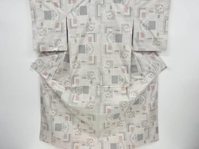 【IDnet】 幾何学に華紋織り出し本場白大島紬着物(5マルキ)【リサイクル】【中古】【着】
