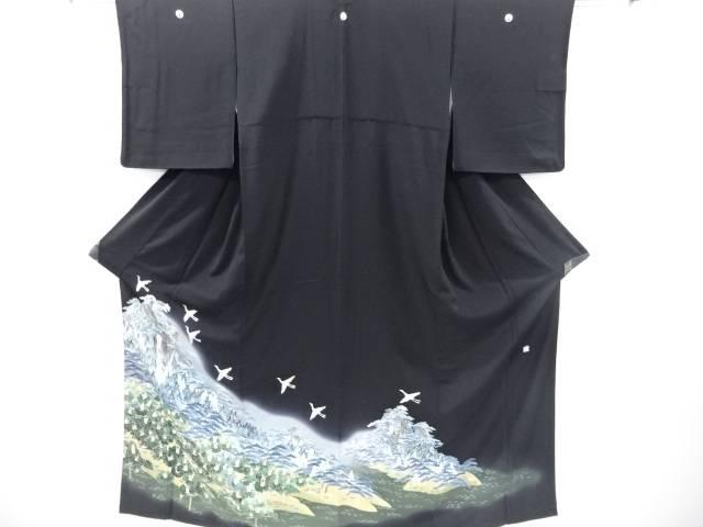 【IDnet】 作家物 手描き友禅群鶴に松原風景模様留袖【リサイクル】【中古】【着】
