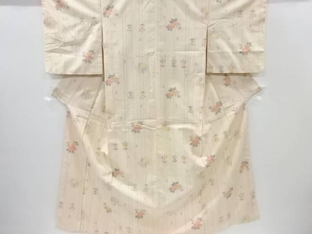 【IDnet】 未使用品 縞に花・巾着模様織り出し手織り節紬着物【リサイクル】【着】