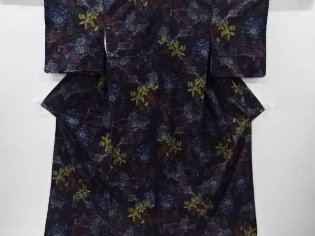 【IDnet】 草花に小鳥模様織り出し手織り真綿紬着物【リサイクル】【中古】【着】
