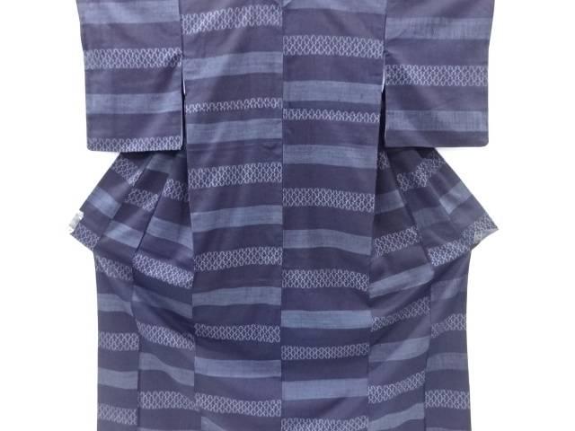 【IDnet】 本藍横段に松皮菱模様織出手織り真綿紬着物【リサイクル】【中古】【着】