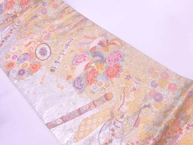 【IDnet】 鳳凰に古楽器・草花模様織出し袋帯【リサイクル】【中古】【着】