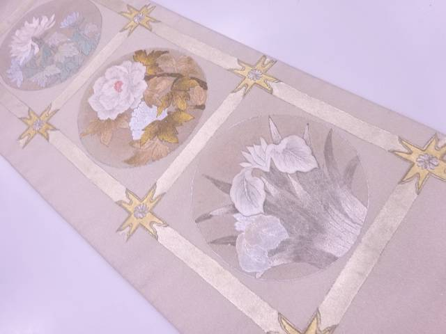【IDnet】 綴れ金彩蘇州刺繍各天井に草花模様袋帯【リサイクル】【中古】【着】