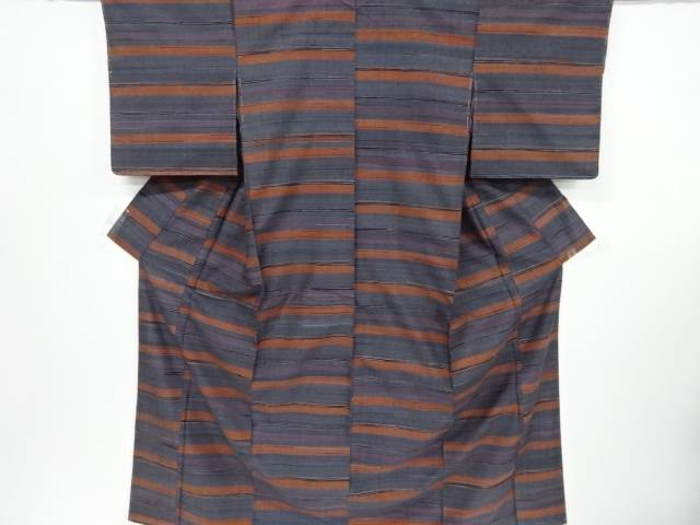 【IDnet】 横段織り出し手織り節紬着物【リサイクル】【中古】【着】