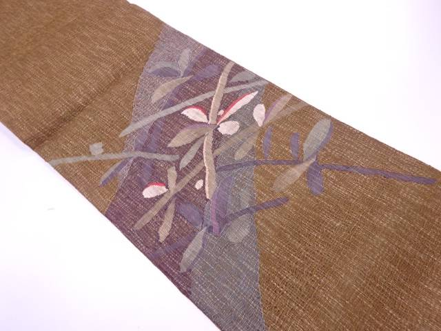 【IDnet】 未使用品 すくい織草葉模様織出し袋帯【リサイクル】【着】