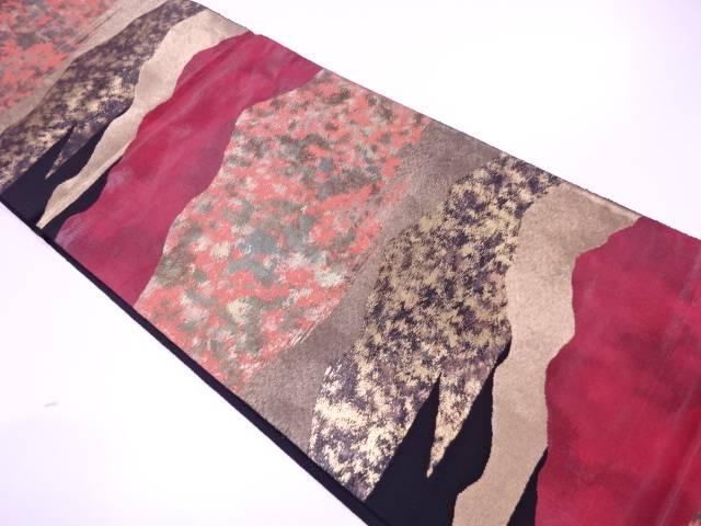 【IDnet】 漆遠山風景模様織出し袋帯【リサイクル】【中古】【着】