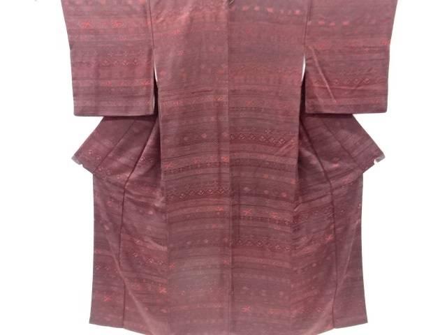 【IDnet】 横段に花鳥更紗模様織り出し小紋着物【リサイクル】【中古】【着】
