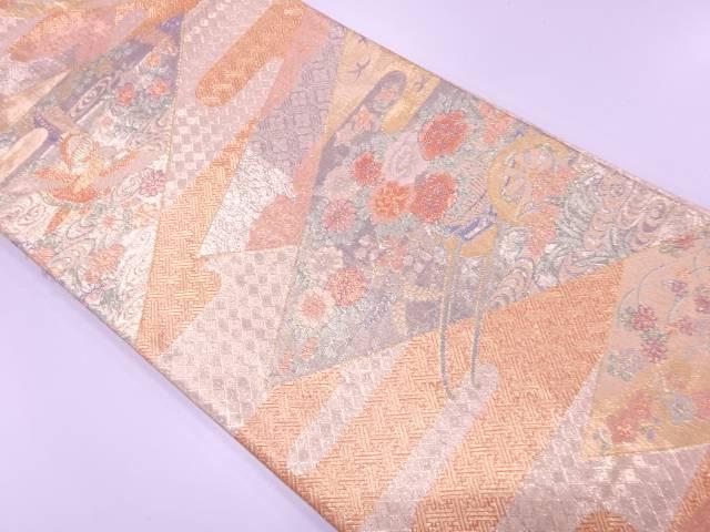 【IDnet】 佐賀錦花車に花鳥模様織出し袋帯【リサイクル】【中古】【着】