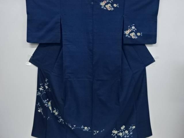 【IDnet】 枝花に鳥模様手織り節紬一つ紋訪問着【リサイクル】【中古】【着】