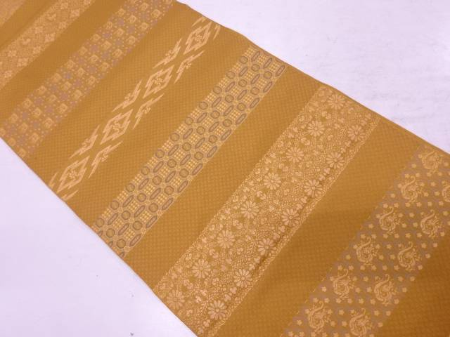 【IDnet】 川島織物製 横段に草花・抽象模様織出し袋帯【リサイクル】【中古】【着】