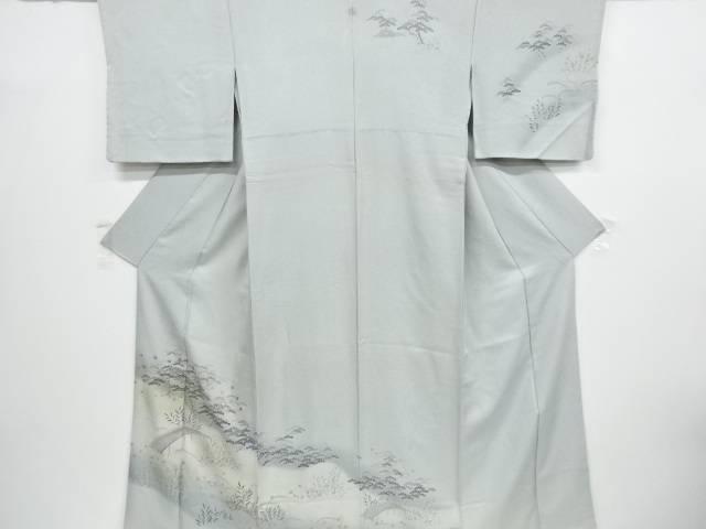 【IDnet】 金彩手描き友禅橋に笠松模様一つ紋訪問着【リサイクル】【中古】【着】