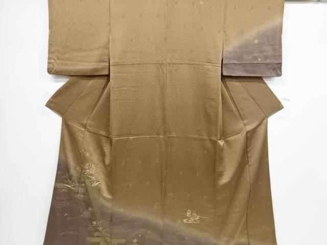 【IDnet】 金彩流水に菊・桔梗・撫子模様刺繍訪問着【リサイクル】【中古】【着】
