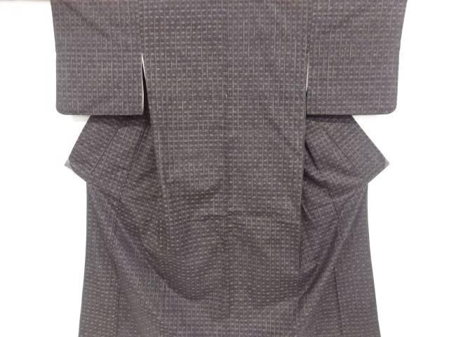 【IDnet】 絣柄織り出し手織り真綿紬着物【リサイクル】【中古】【着】