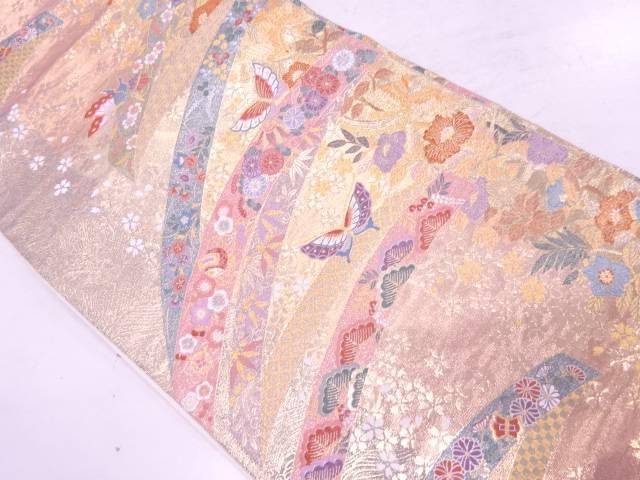【IDnet】 松梅に花鳥・桜模様織出し袋帯【リサイクル】【中古】【着】