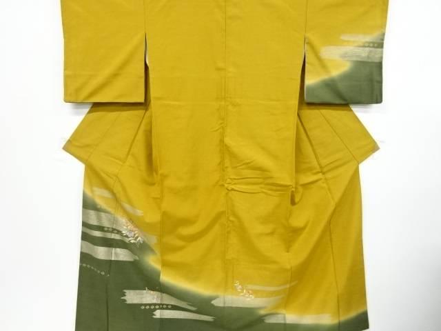 【IDnet】 霞に扇・花模様刺繍手織り紬訪問着【リサイクル】【中古】【着】