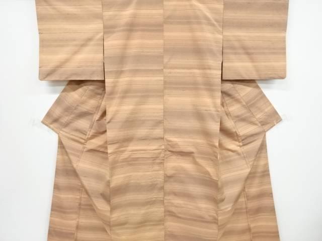 【IDnet】 よろけ横段織り出し手織り節紬着物【リサイクル】【中古】【着】