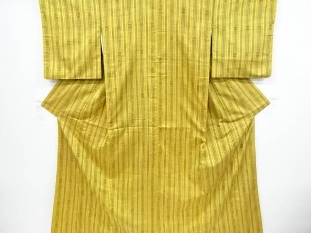 【IDnet】 縞に花模様織り出し手織り真綿紬着物【リサイクル】【中古】【着】