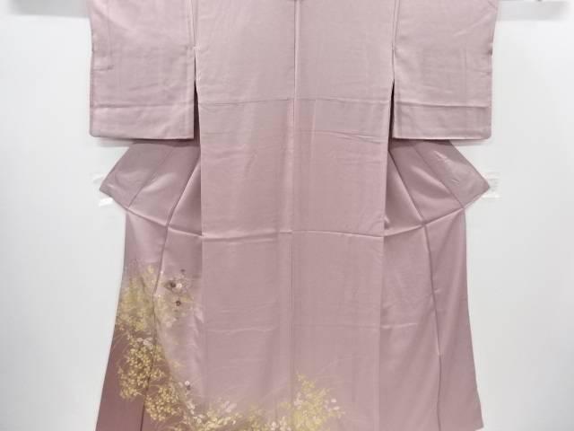 【IDnet】 金彩扇面に菊・桔梗・葡萄模様刺繍訪問着【リサイクル】【中古】【着】