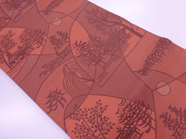 【IDnet】 木屋太製 樹木に家屋風景模様織出し袋帯【リサイクル】【中古】【着】