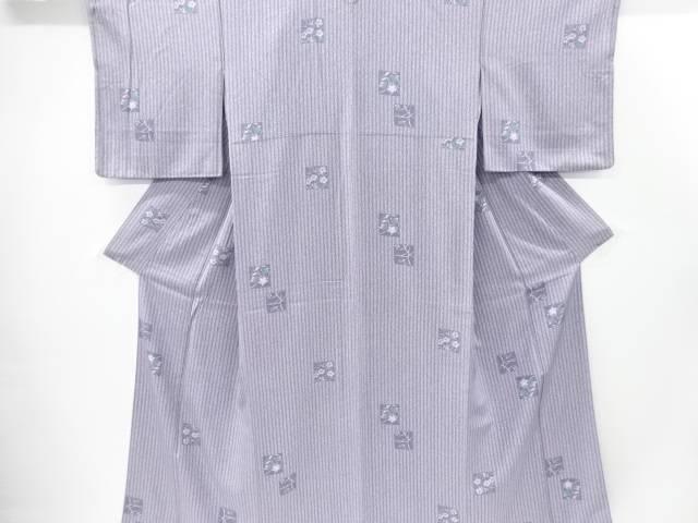 【IDnet】 縞に色紙・秋草模様小紋着物【リサイクル】【中古】【着】