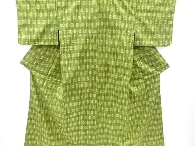 【IDnet】 縞に枡模様織出手織り真綿紬着物【リサイクル】【中古】【着】