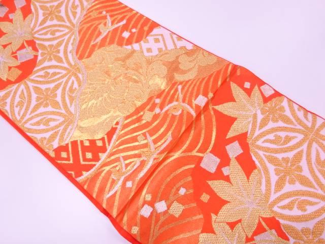 【IDnet】 川島織物製 波に花鳥・色紙散らし模様織出し袋帯【リサイクル】【中古】【着】