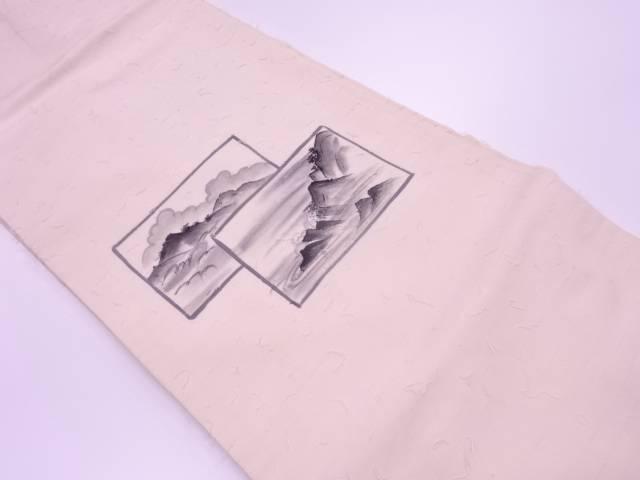 【IDnet】 ひげ紬手描き風景模様名古屋帯【リサイクル】【中古】【着】