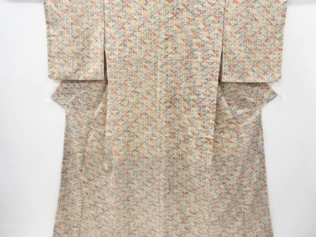 【IDnet】 型絵染菱取りに抽象葉模様節紬着物【リサイクル】【中古】【着】