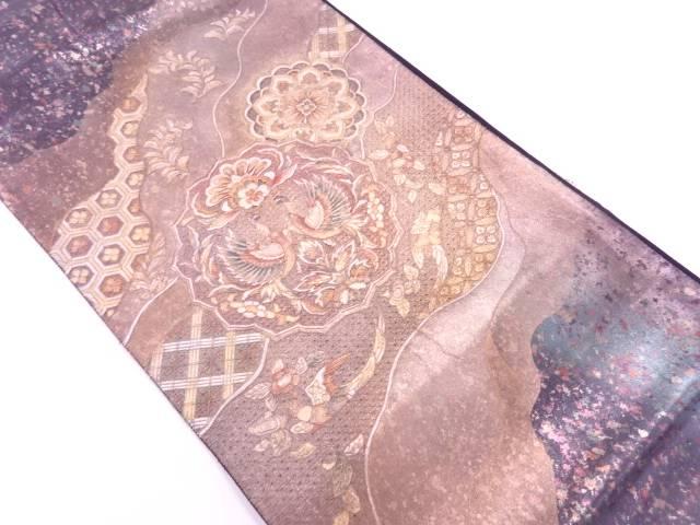 【IDnet】 引箔金彩螺鈿汕頭刺繍道長取りに向かい鳥・華紋模様袋帯【リサイクル】【中古】【着】