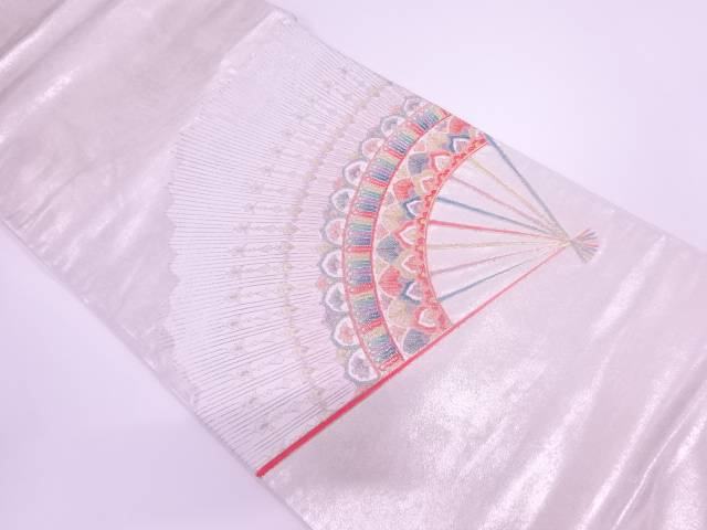 【IDnet】 扇に花模様刺繍袋帯【リサイクル】【中古】【着】