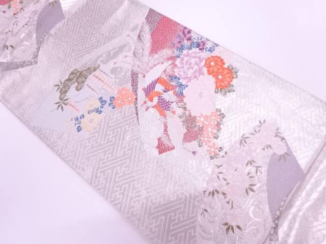 【IDnet】 プラチナ箔二重織地紙に鳳凰・草花模様織出し袋帯【リサイクル】【中古】【着】