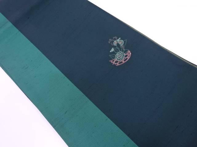 【IDnet】 未使用品 手織紬相良刺繍花籠模様袋帯【リサイクル】【着】