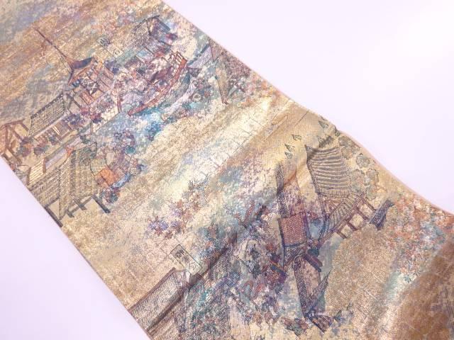 【IDnet】 洛中洛外の図模様織出し袋帯【リサイクル】【中古】【着】