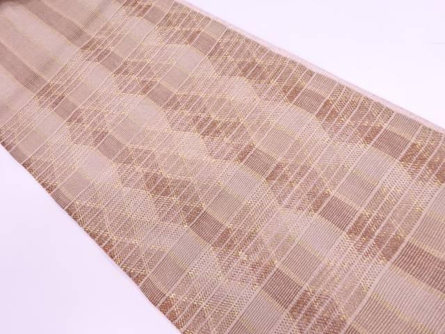 【IDnet】 変わり織横段に抽象模様織出し夏用袋帯【リサイクル】【中古】【着】