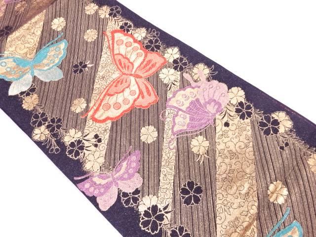 【IDnet】 蝶に花唐草模様織出し振袖袋帯【リサイクル】【中古】【着】